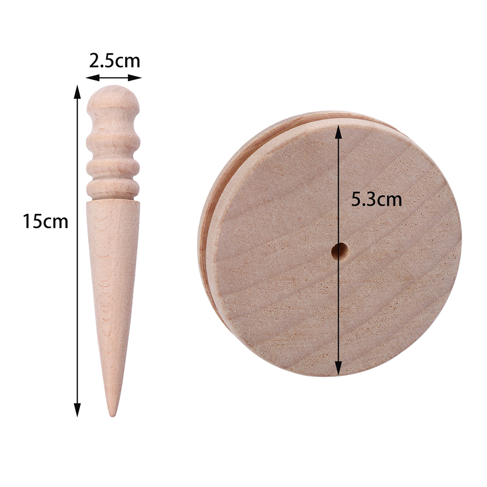 2pcs Leathercraft DIY Tool Leather Edge Slicker Round Wooden Polish Stick