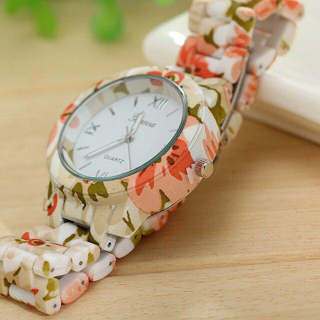 Fashion top luxury brand wristwatch dress women's watch high quality ceramic sweet girls Bracelet watches design Ladies flower