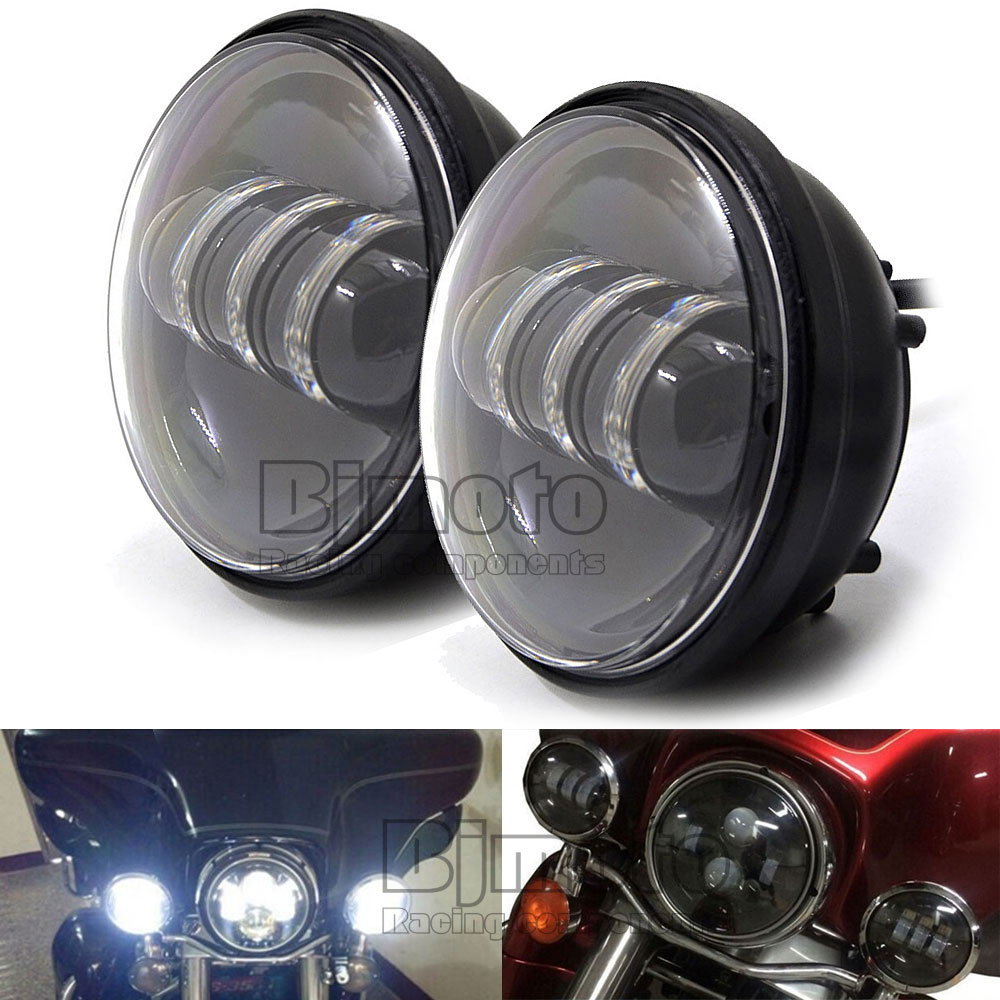 ФОТО HL-011-BK 4-1/2'' Motorcycle LED Spot Fog Passing Light Lamp Daymaker Projection Black For Harley Motorcycle headlight