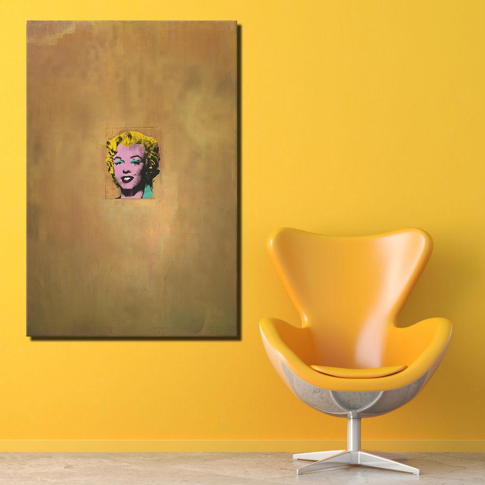 Free shipping HUGE WALL PAINTING ON CANVAS Andy Warhol Gold Marilyn ...