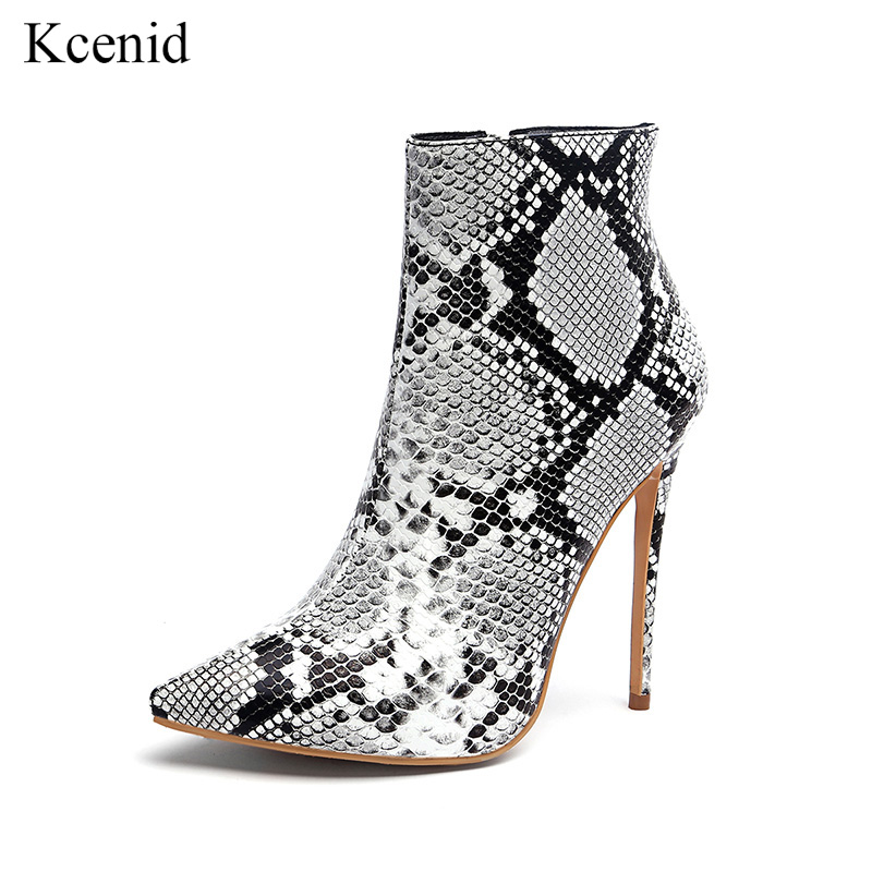 Kcenid Women zipper boots winter snake print ankle boots high heels fashion pointed toe ladies sexy shoes 2018 big size 11 42 43