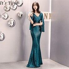 Это Yiiya вечернее платье с блестками, v-образный вырез, обычный рукав, молния сзади, платье для выпускного вечера, длина до пола, вечерние платья C070