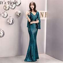 It's Yiiya Sequined evening dress V-neck regular sleeve Zipper back Mermaid Prom dresses Floor-length formal Party Gowns C070 it s yiiya sequined evening dress v neck regular sleeve zipper back mermaid prom dresses floor length formal party gowns c070