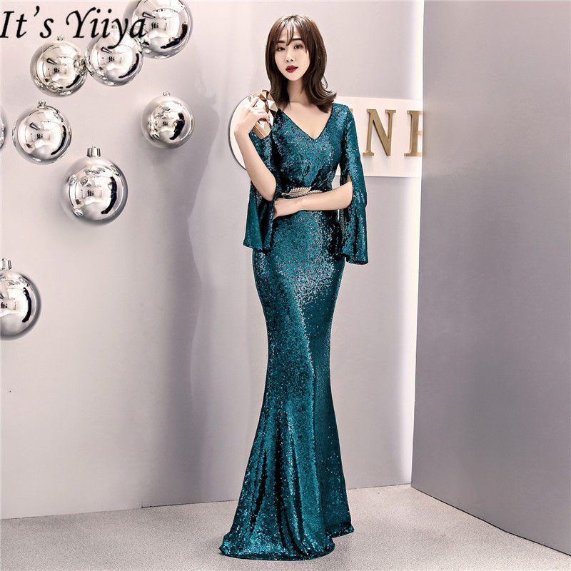 It's Yiiya Sequined   evening     dress   V-neck regular sleeve Zipper back Mermaid Prom   dresses   Floor-length formal Party Gowns C070