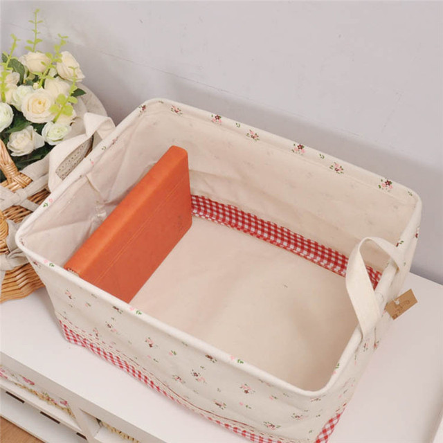 Home Decor Cotton Linen Storage Box 2016 New Foldable Office Bedroom Desk Cosmetic Makeup Toys Clothes Storage Pouch Boxes