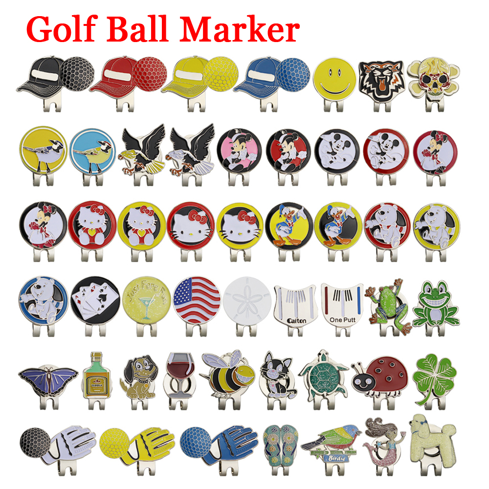 New Golf Ball Mark+Golf Hat Clip Magnetic Alloy marker golf accessories Eagle Tiger One putter Flog Wine Glass Lucky clover(China)
