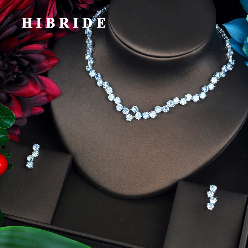 HIBRIDE Beautiful Round Cut Cubic Zirconia Women Jewelry Sets Luxury Necklace Set Wedding Dress Accessories Party Show N-456