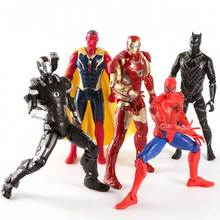 5pcs Super Hero Action Figure 17cm The Avenger Toys Spider Man Iron Man Thor Captain America Hulk PVC Action Figure Toy Doll