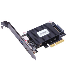 10Gb/s PCI-e to usb3.1 Type-C + Type-A expansion card network adapters card FOR desktop PC computer ASM1142 Chip Protection case