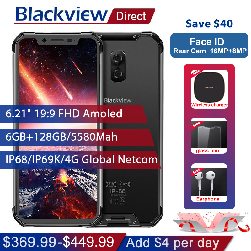Blackview BV9600 Pro IP68 Étanche Mobile Téléphone 6g + 128 gb Helio P60 6.21 19:9 AMOLED 5580 mah NFC Android 8.1 Robuste Smartphone