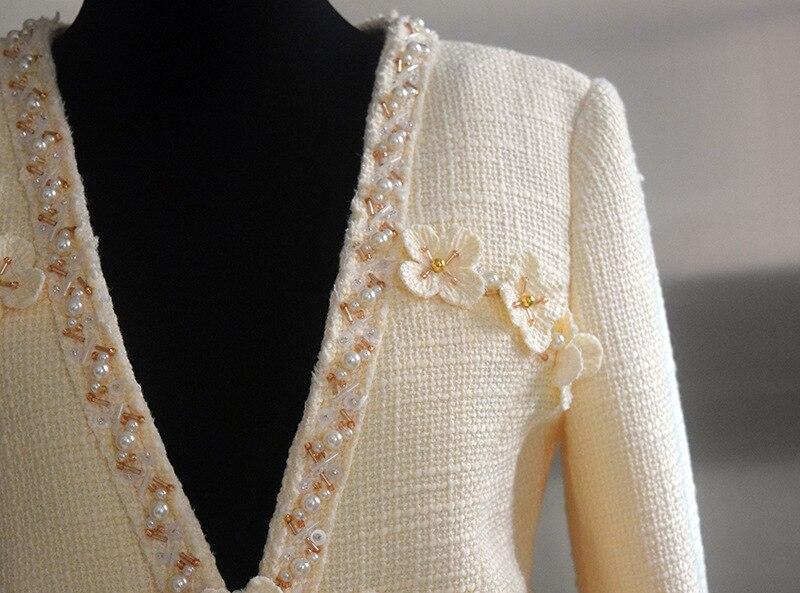 Fleur Blanc Avec Beige Veste Hiver Piste Vestes De 2019 Manteau Automne Nouveautés Couleur Femmes Qualité Haute Tweed qFtw6S6