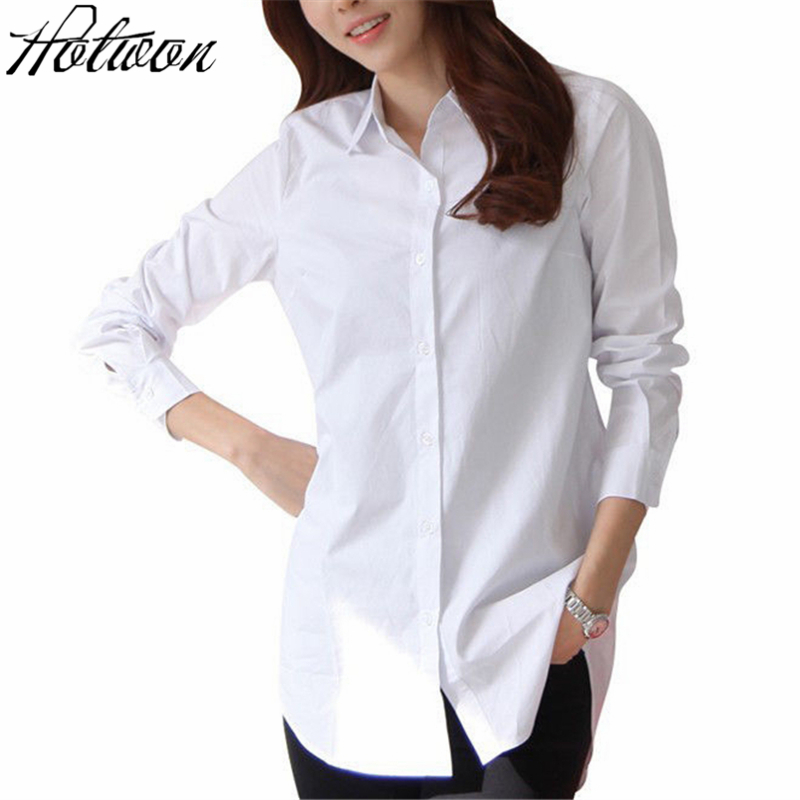 624cfedc7e1 WHITE Solid Oxford Women Blouses Long Sleeve Causal Blouse Shirt Simple Design  Ladies Office Shirt Summer 2017-in Blouses & Shirts from Women's Clothing  on ...