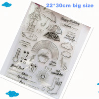 Big Size Climate Cloud Rainbow Boots Transparent Silicone Stamp Clear Stamp Seal For Scrapbooking Stamp Decorative