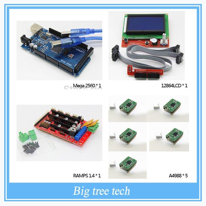 3D Imprimante kit-1pcs Mega 2560 R3 + 1 pcs RAMPES 1.4 Contrôleur + 5 pcs A4988 Stepper Pilote Module + 1 pcs 12864 contrôleur