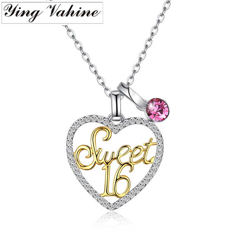 ying Vahine High grade Crystal Necklace 925 Sterling Silver Heart shaped with Letters Sweet 16 Necklace Women Birthday Gift