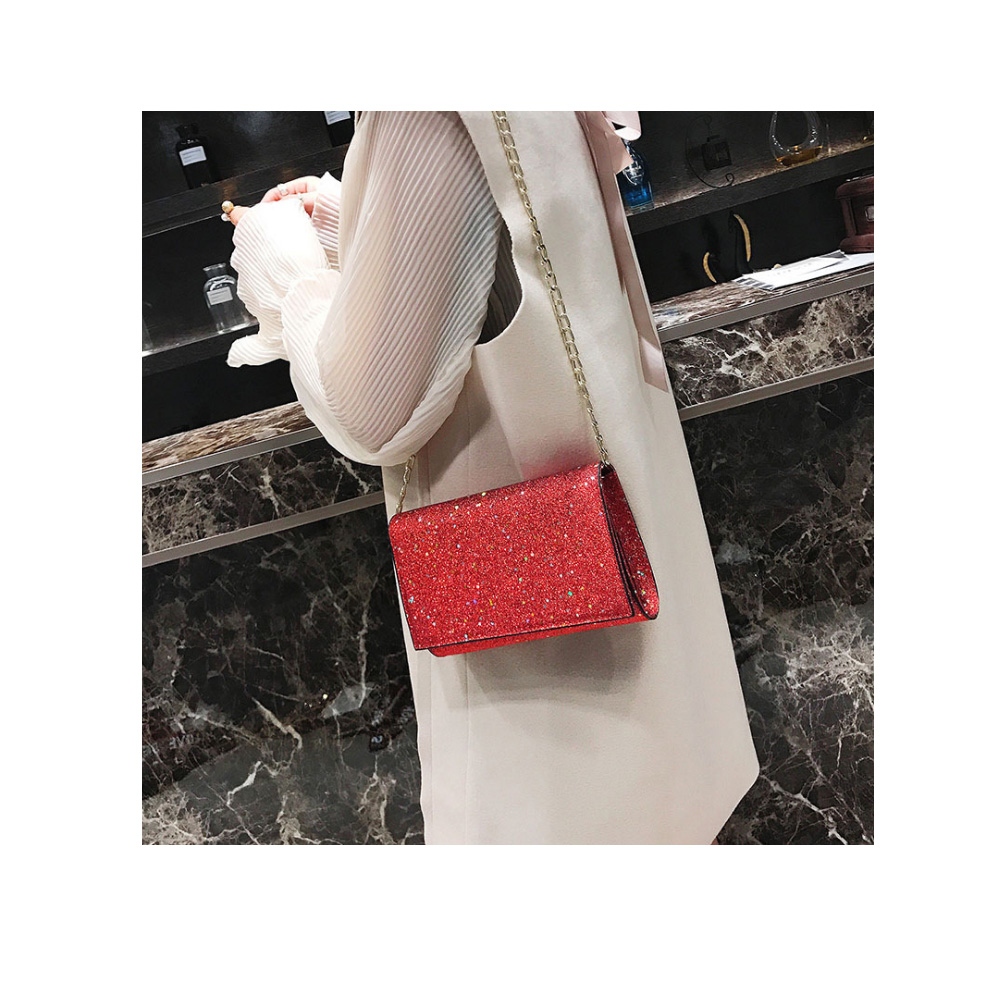 Designer Women Chain Sling Shoulder Bags Girls Star Printing Handbag Casual Clutch Messenger Bag Closure