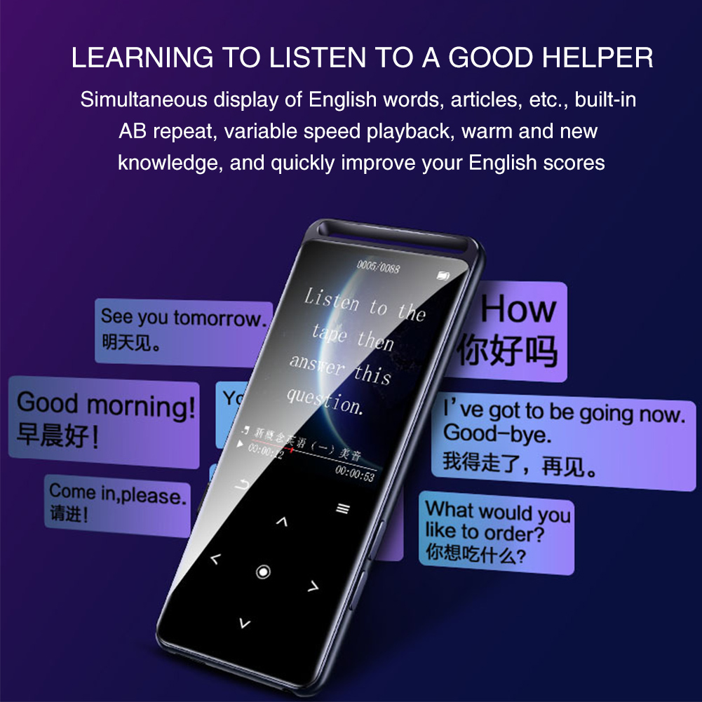 M6 Touch Button FM Radio Voice Recorder Lossless HIFI Backlight Metal Bluetooth Sport Rechargeable Portable Mini MP4 Player
