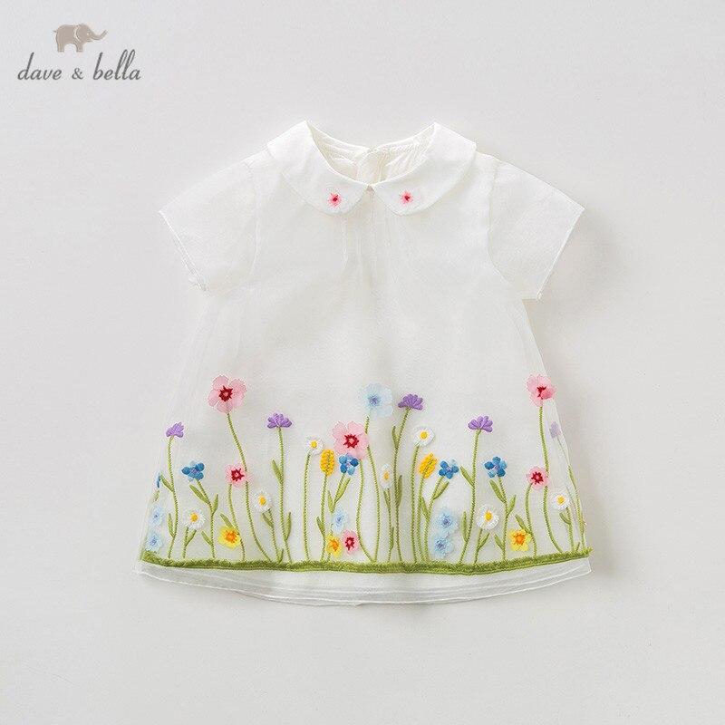 DB10142 dave bella summer baby girl s princess cute floral dress children fashion party dress kids