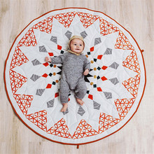 90cm Baby Play Mat Geometric Diamond Kids Rug Cotton Thick Round Baby Crawling Mat Children Play Tent Floor Mat Nordic Decor Toy(China)