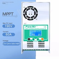 MPPT 60A LCD Display Solar Charge Controller 12V 24V 36V 48V Auto Solar Panel Battery Charge Regulator for Max 190V DC Input