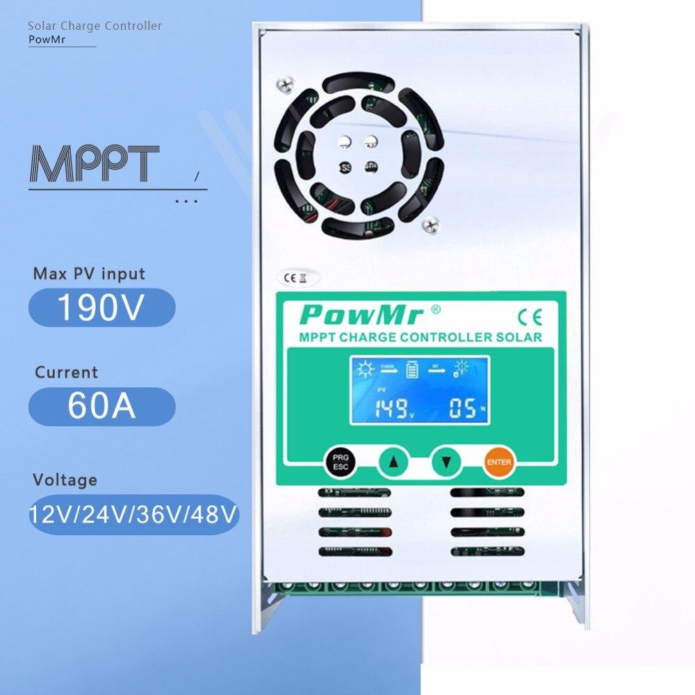 Display LCD Controlador de Carga Solar MPPT 60A 12V 24V 36V 48V Auto Carga Da Bateria Do Painel Solar regulador para Max 190V de Entrada DC