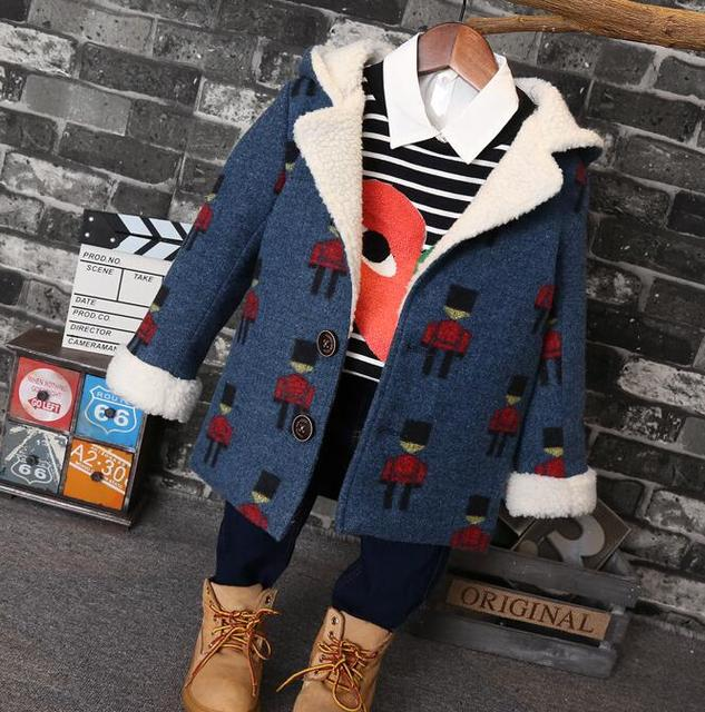 2016 children cute clothes new boys warm sheep wool velvet in the long section of thick wool boy coat hooded botton coat