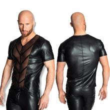 Men's Tops Black PU Faux Leather Mesh Hollow Sexy Club Dance Clothing Lightweight Short Sleeve T-Shirt Pajamas Fad Exotic Tanks