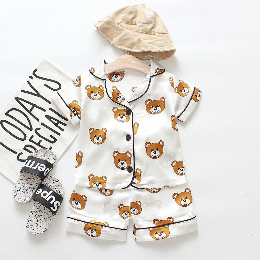 0-7T Toddler Kids Baby Boys Layette Sets Cartoon Dinosaur Camouflage Short Sleeve Shirt Pants Outfits Comfy Soft Pajamas