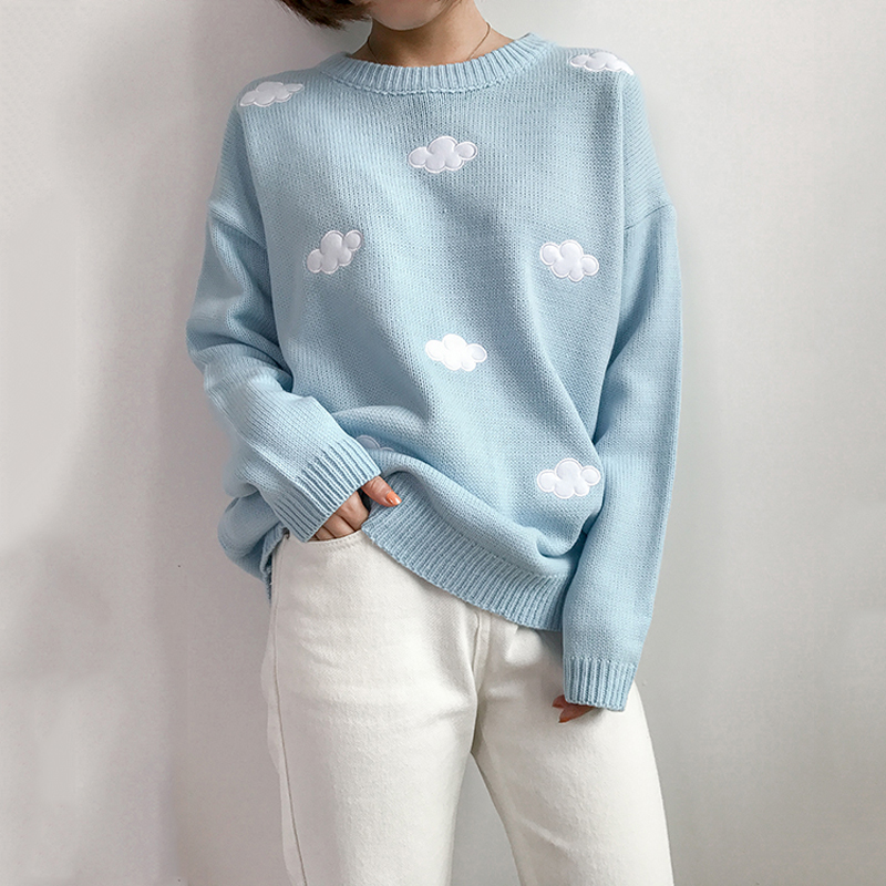 2018 New College Wind Embroidered Sweater Women Harajuku Cotton Fresh Sweet Cloud Sweater Loose Round Neck Long Sleeve Sweater