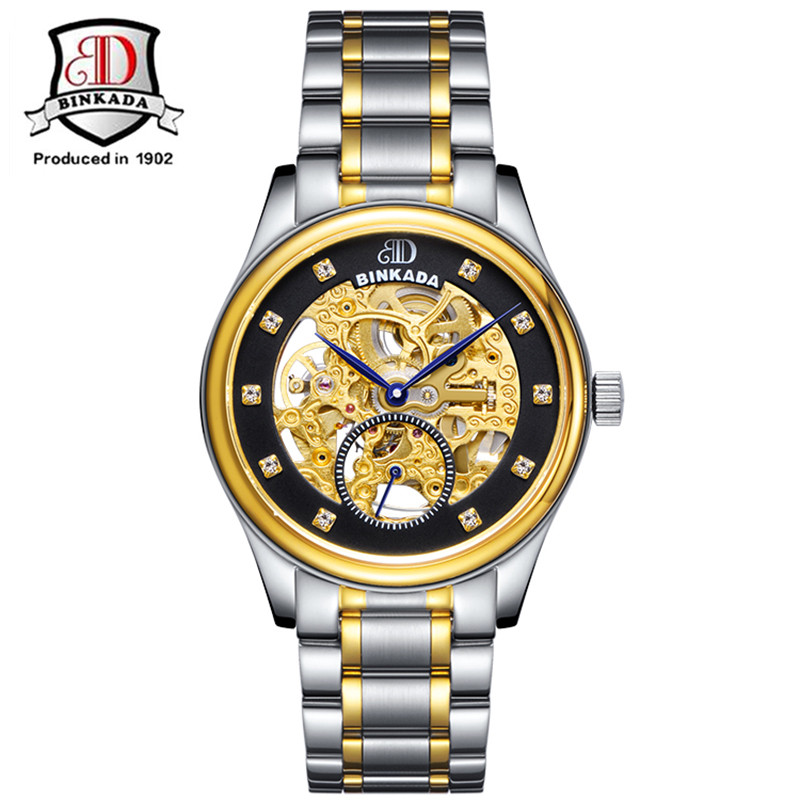 Skeleton Mechanical Automatic Gold Watch Men Montre Automatique Homme Mens Watches BINKADA Luxury Brand Stainless Wrist Watch asus zenfone zoom zx551ml 4g phablet