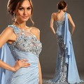 S026 Sexy Blue Long Evening Dress Perspective One-Shoulder Lace Evening Dresses Long Prom Dresses Vestido De Festa Vestido Longo