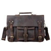 ROCKCOW Hotsale Crazy Horse Leather Briefcase Laptop Messenger Bag Fashion Style 2014 New Design Men's Shoulder Bag 7200