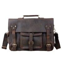 ROCKCOW Hotsale de Cuero de Caballo Loco Maletín Portátil Messenger Bag Bolso Estilo de La Moda 2014 Nuevos hombres del Diseño 7200