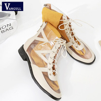 8fa4c697bf VANGULL Women Gladiator Sandals PU Clear Low Heel Transparent Shoes Lace Up  High Round Toe Pumps