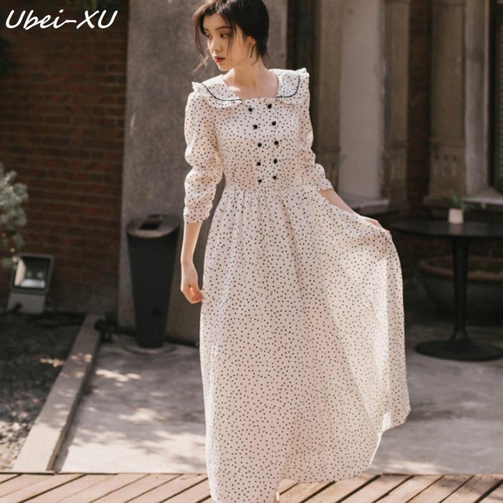 Ubei 2019 Spring New Dot print long dress vintage long sleeve peter pan collar beauty white