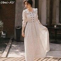 Ubei 2019 Spring New Dot print long dress vintage long sleeve peter pan collar beauty white dress women bodice chiffon dresses