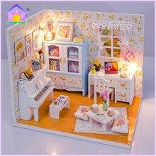 Hoomeda bricolage poupée maison miniatures en bois jouets M011 Pinellia fleurs moveis casa de boneca pour les enfants cadeau