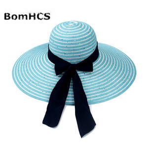 e9166abf0cc BomHCS Straw Hat Women Summer Wide Brim Beach Sun Hats Caps