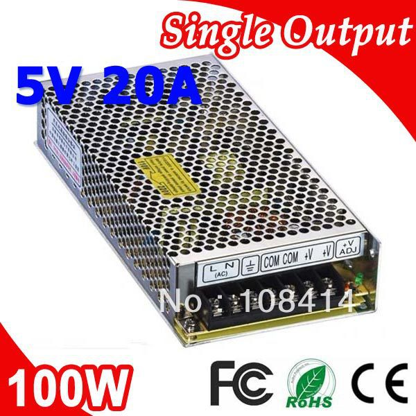 S-100-5 100W 5V 20A Single output Power Supply Transformer 110V 220V AC to DC 5V outputS-100-5 100W 5V 20A Single output Power Supply Transformer 110V 220V AC to DC 5V output