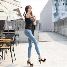 Тенденции моды новый черный и белый отверстие в девять минут брюки ковбой женский показать тонкие брюки ноги плотно карандаш брюки