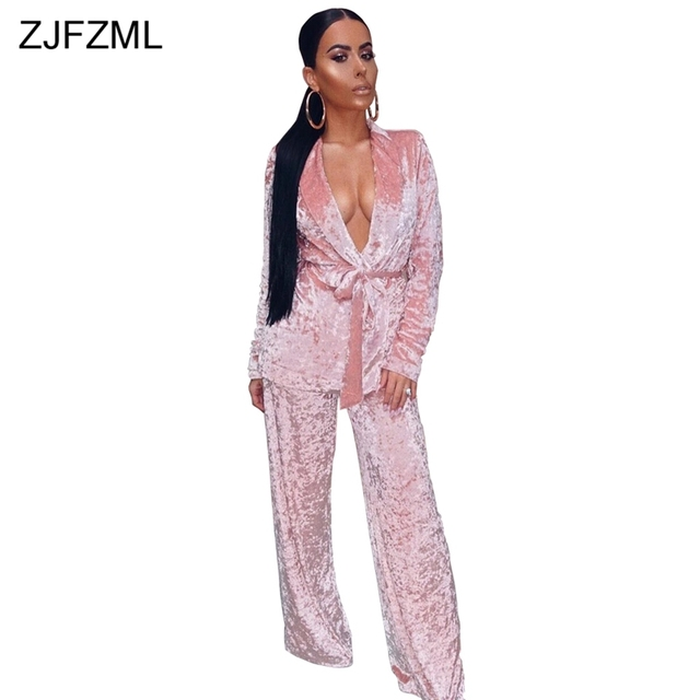 ZJFZML Special design 2018 popular velvet 2 piece set women white deep v neck full sleeve jacket and sexy blue loose long pant