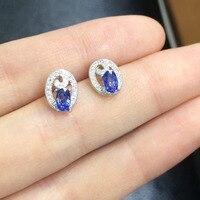 2017 Ци Xuan_Fashion Jewelry_Natural Синий Камень Элегантный овальной женщина Earrings_S925 чистого серебра Earrings_Factory непосредственно продаж