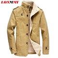 LONMMY 2016 new arrival mans casacos dos homens jaqueta De Algodão Longo estilo trench Engrossar homens jaqueta de inverno dos homens Casuais roupas M-4XL