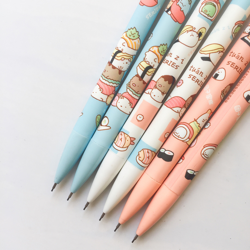 H13 3X Cute Kawaii Sushi Food Press Automatic Mechanical Pencil Writing Drawing School Office Supply Student Stationery 0.5mm