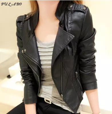 Spring Autumn Winter Ladies Motorcycle   Leather   Jackets Women Turn-down Collar Zipper Slim Black Moto & Biker Jacket Female
