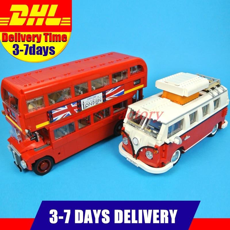 2 PCS/Lot LEPIN 21045 1716Pcs The London Bus Set 10258 +LEPIN 21001 1354Pcs  T1 Camper Van Model Building Bricks Clone 10220 серьги с кошачьим глазом лель снкг 1716