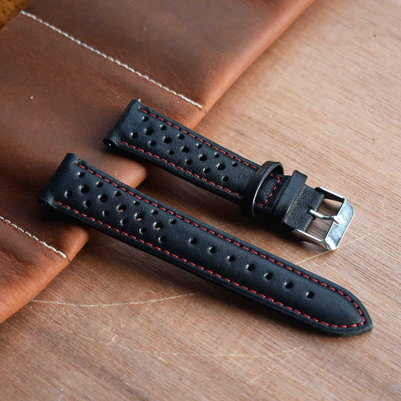 Onthelevel Berpori 22 Mm Watch Band Kulit Asli 20 Mm Watch Tali 18 Mm-24 Mm Gelang dengan Cepat rilis Musim Semi Bar # E