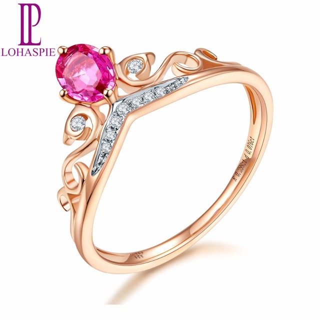 Lohaspie Solid 18K Rose Crown Engagement Rings Gold Natural Gemstone