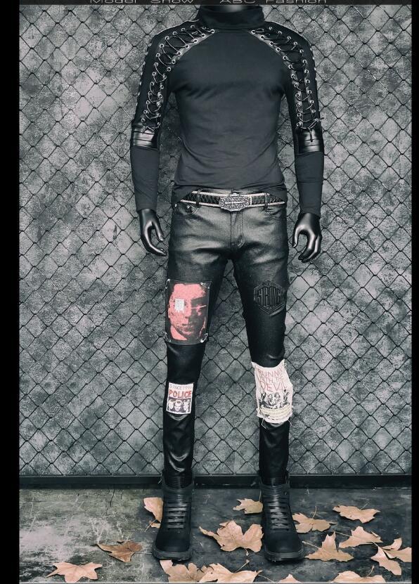 Disfraces de Punk rock para hombres cantante delgada Camiseta de manga larga diseño vendaje estiramiento hip hop club nocturno jóvenes tide ropa de cantante - 4