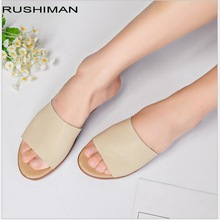 RUSHIMAN Summer  women slippers  genuine leather flat heels Open Toe platform flip flops women slides shoes woman jellyfond flower slippers genuine leather shoes woman handmade slides flip flops platform clogs for women slippers plus size